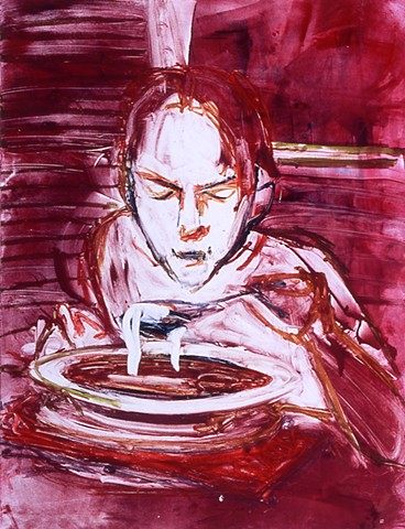 monotype print, young girls, figurative, soup