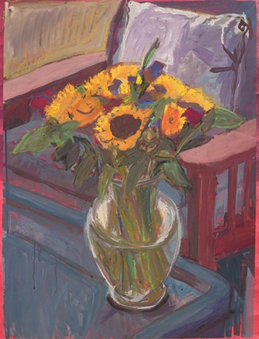 floral, bouquet, sunflowers, acryl gouache, works on paper