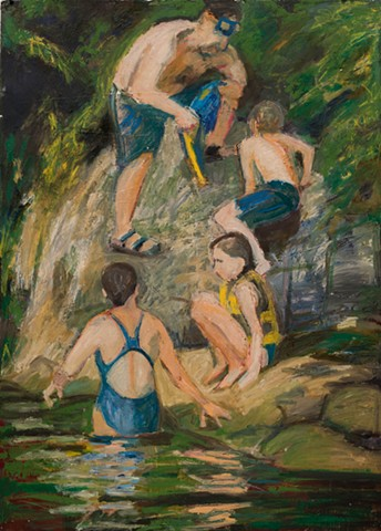 oil on paper, swimmers, figures in water, Connecticut River