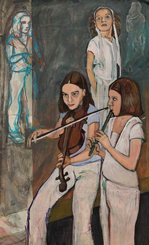 acrylic on paper, cheilagh band, Irish music, young musicians, fiddle, tin whistle