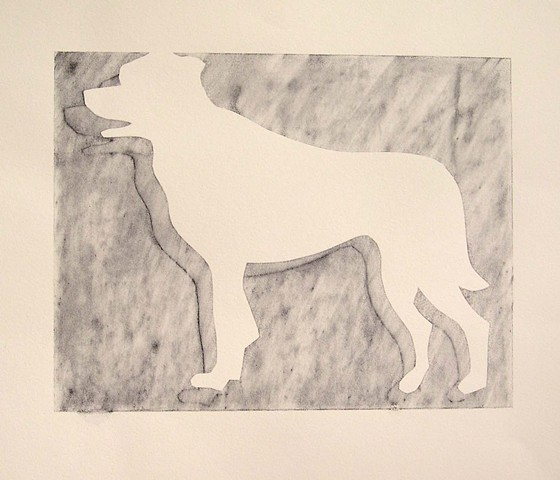 silkscreen monotype, dog, graphite