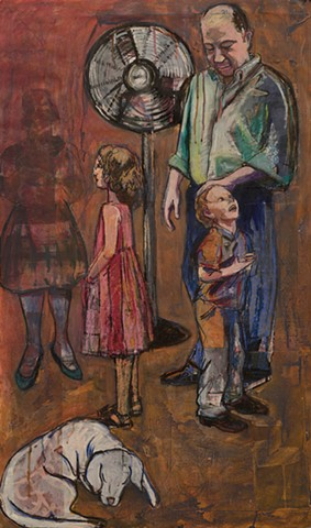 figures, families, collage, acrylic