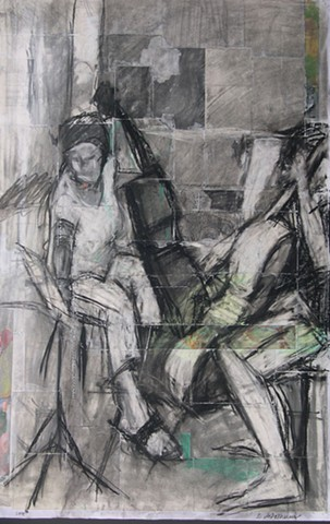 drawing, collage on paper, musicians, cello