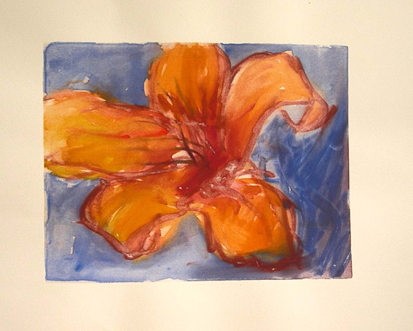 silkscreen monotype, floral, lilly