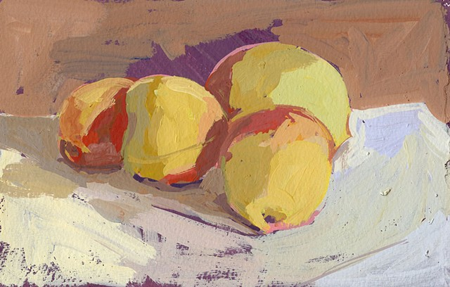 painting on paper. acryl gouache, peaches, still life