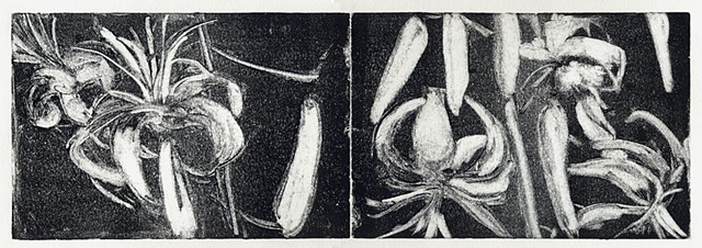 monotype print, floral, diptych