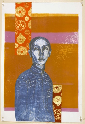 monotype print, figurative, chine colle
