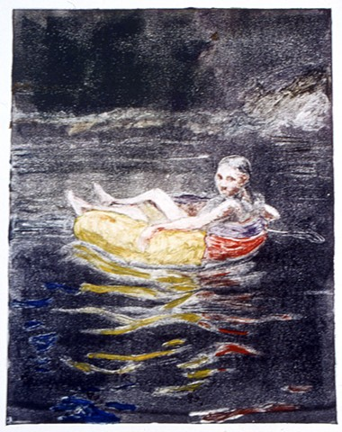 monotype print, figurative, child, water