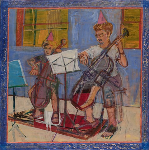 mixed materials, acrylic, pastel ,collage, musicians, cello, duet, painterly