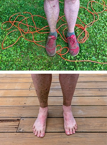above: before weed whacking, 7-14-18 below: after taking my sneakers off from weed whacking, 7-14-18