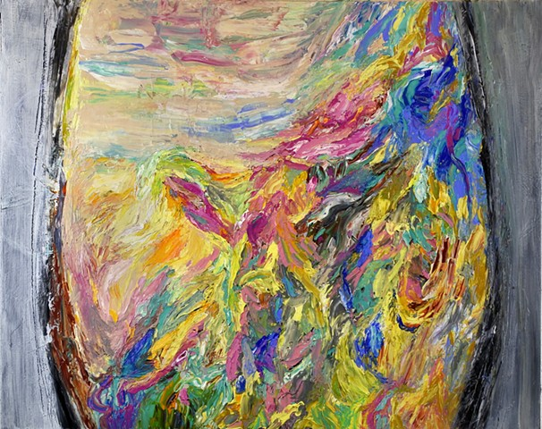 Abstract painting with impasto marks, texture. Black, beige, green, blue, yellow, pink