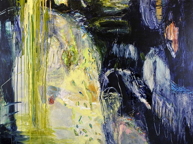 Abstract landscape painting with impasto marks, drips. Prussian Blue, yellow, pink