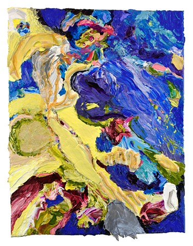 Thick impasto paint, abstract , multidimensional, burgundy, blue, yellow, iridescent, sculptural paint