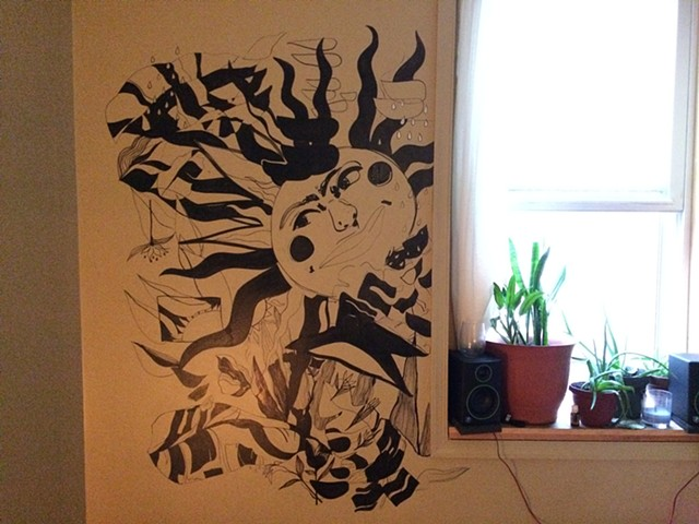 A free handed mural in a friend's bedroom.