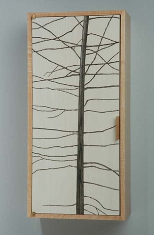 Wall Cabinet with Pine Tree