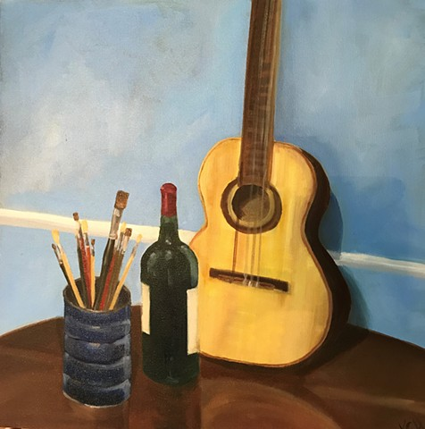 Guitar, oil on canvas, original artwork by Kate Harr
