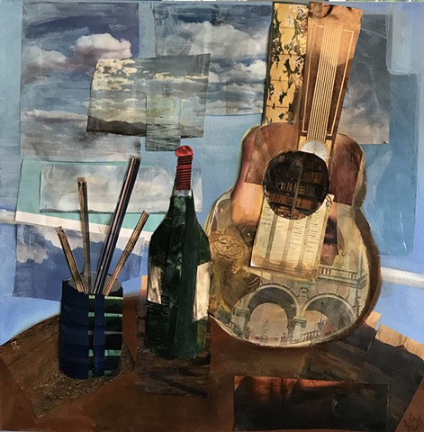 Rendition on guitar, collage and oil canvas, original artwork by Kate Harr