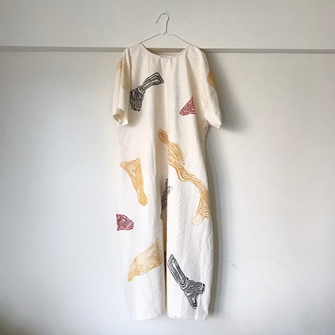 Woodblock printed lightweight cotton, free-size