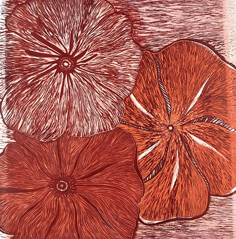 Woodcut Reduction Print, Poppies