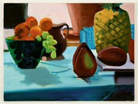 Zeuxis Fruit Still Life Window Aqua Blue Pineapple Grapes Glass