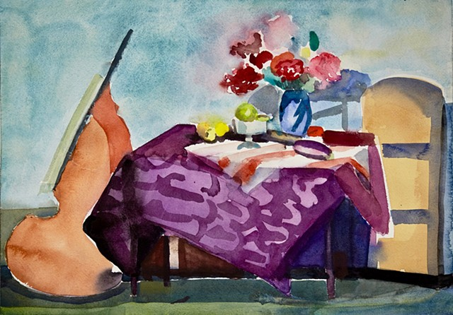 Table with Purple Cloth