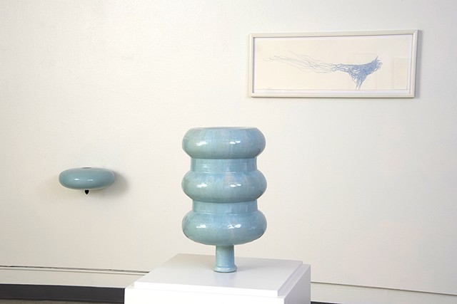 blue water bottle ceramic sculpture drawing installation by artist Jeff Krueger