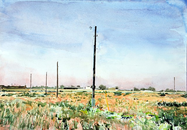 Western Landscape watercolor by artist Jeff Krueger