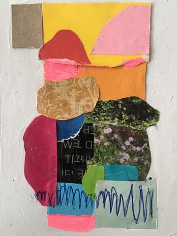 Collage on upcycled cardboard/ mixed media