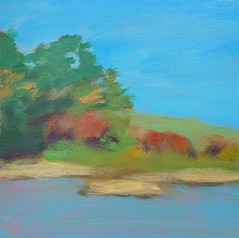 Autumn By the Water reclaimed panel contemporary abstract fall landscape plein air painting