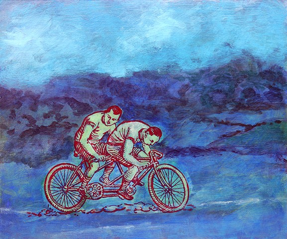 bicycling uphill original abstract fine art painting Irene Stapleford wall decor blue sky red bicycle
