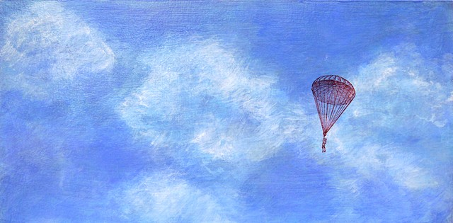 fine art painting original dream sky parachute exploration philosophical unknown blue
