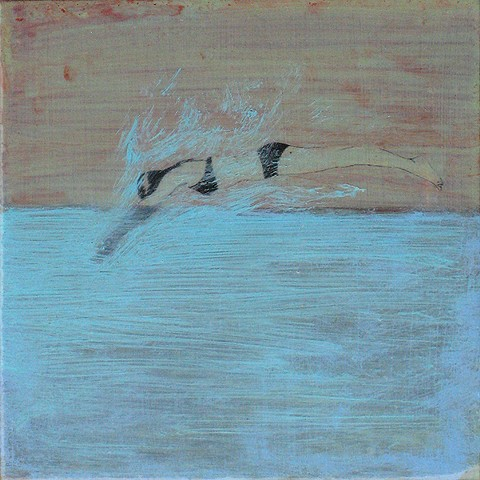 Shallow Dive, Splash swimmers series original fine art small painting Irene Stapleford diver