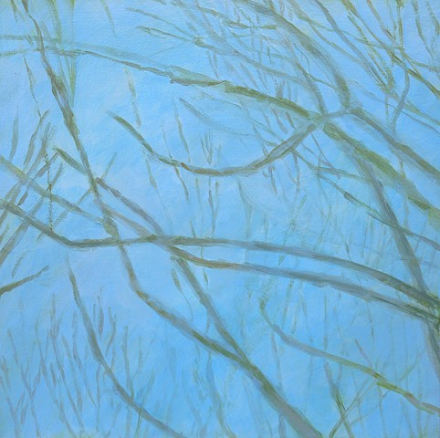 branches light blue green spring acrylic abstract fine art painting wall decor Stapleford
