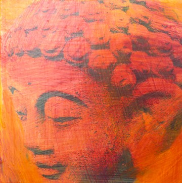 Peaceful Buddha, Orange/Red