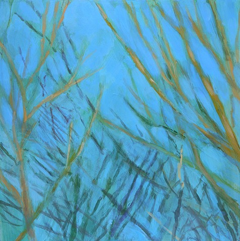 Blue and Gold 24 inch wall art panel decor branches winter abstract acrylic Stapleford