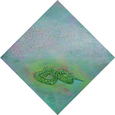 acrylic original fine art painting decor Short Attention Span snake