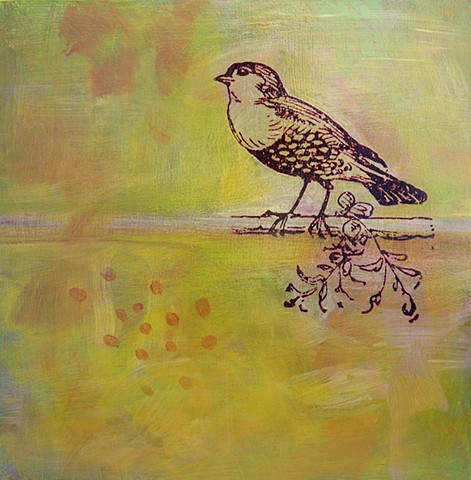 Golden Bird Irene Stapleford original fine art painting yellow green orange dots abstract bird