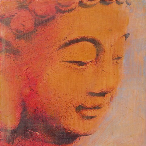 Golden Buddha small affordable fine art painting original Irene Stapleford