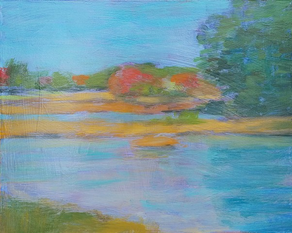 Colorful Autumn Stillness autumn contemporary abstract decor landscape plein air study