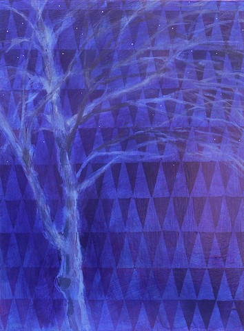original fine art painting acrylic Night Tree with Stars purple white blue