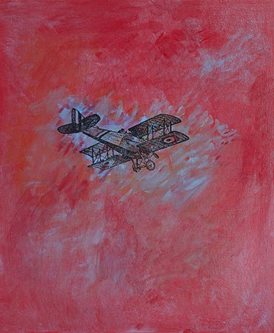 Red Baron Flies Again flying ace WWII red impressionist abstract sky
