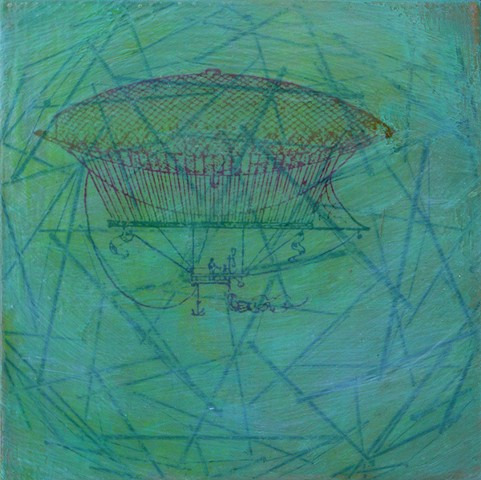 Rainbow Flier in Green Linear Mass original small affordable fine art painting Irene Stapleford