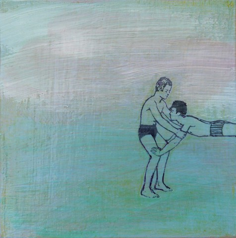 original fine art small affordable painting acrylic Swim Lesson gay decor dating romance