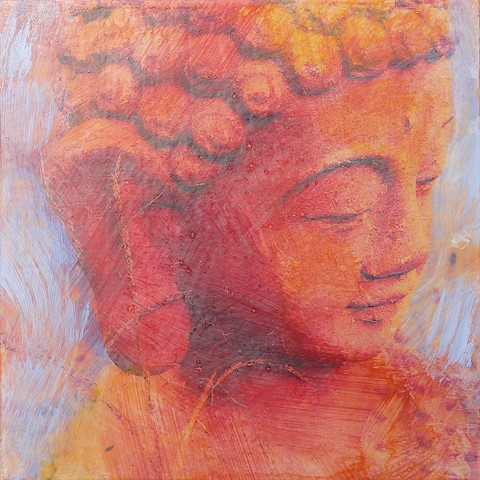 Buddha, Blue Sky original small fine art affordable painting Irene Stapleford yoga decor