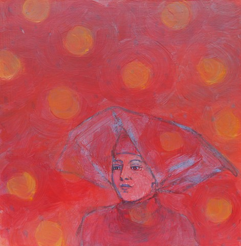 medium original fine art painting acrylic Contemplation (Red Nun, Big Dots)