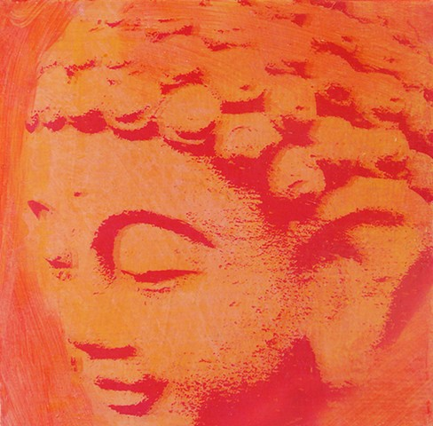 Red Buddha small original fine art painting affordable decor yoga Irene Stapleford wall home