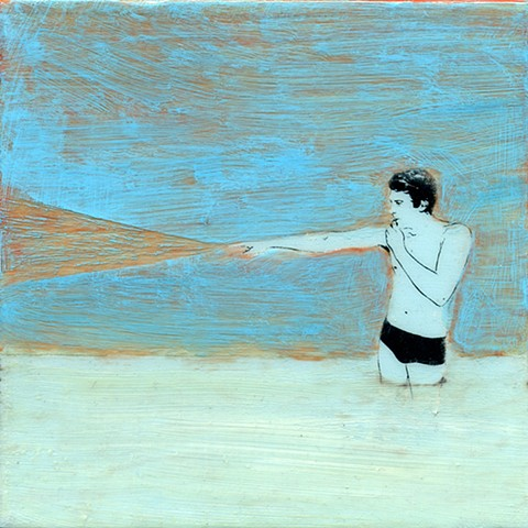 Enforcer original fine art small painting acrylic on panel Irene Stapleford swimmers series