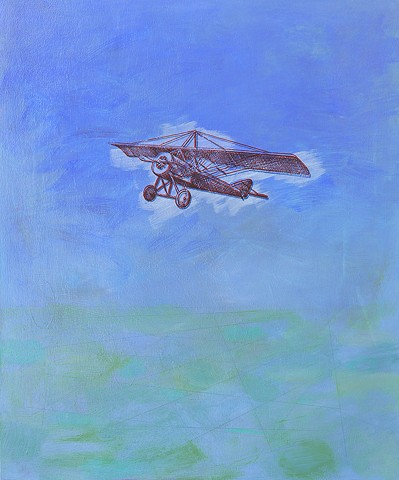 Imaginary Journey airplane vintage image flying machine impressionist landscape