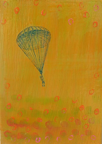 Parachute into Dots original small fine art affordable painting Irene Stapleford green orange vintage imagery