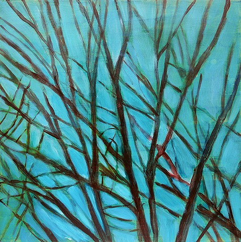 branches purple teal 24 inch abstract tree forms fine art painting trees decor